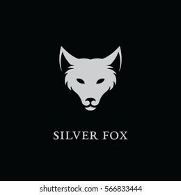 Silver fox logo template design. Vector illustration.