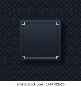 Silver frame minimalistic template with text space. Elegant square border with shiny gradient effect. Chinese oriental waves pattern web banner background. Abstract black invitation vector layout