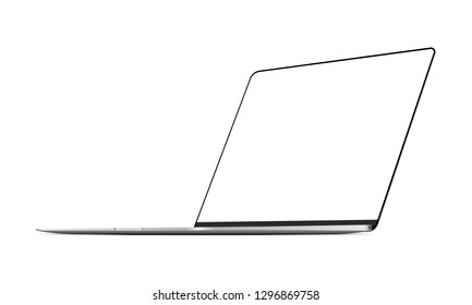 Silver frameless laptop mockup with perspective 3/4 right view. Vector illustration