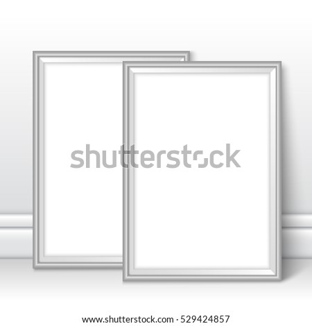 silver frames template near wall grey stock vector royalty free