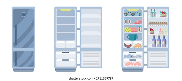 Silver fridge is isolated on a white background. Closed and open empty refrigerator. Drawing a refrigerator with food or an empty shelf. Vector illustration in flat style. Kitchen appliances.