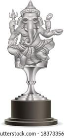 Silver Ganesha Statue Award.illustration vector
