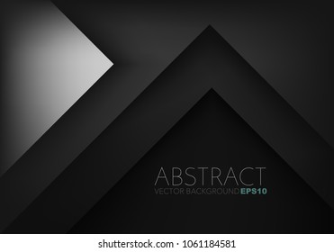 Silver geometric triangle vector background overlap layer on black space for text and background design
