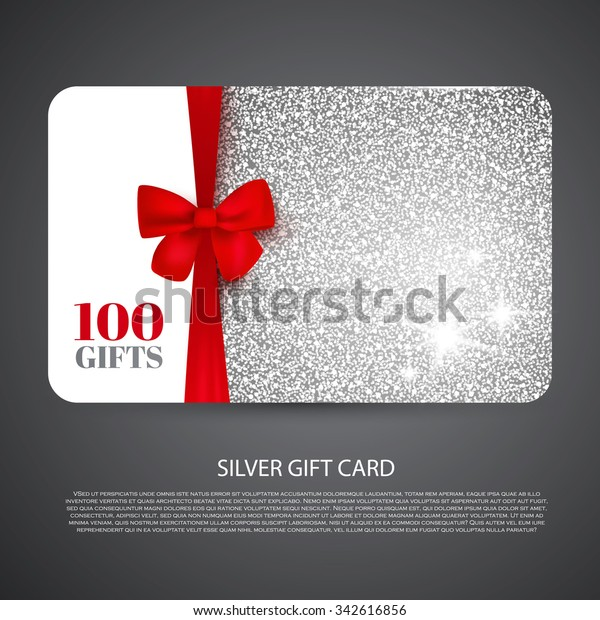 Silver Gift Coupon Gift Card Discount Stock Vector Royalty Free 342616856
