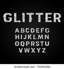 Silver glitter alphabet fonts vector illustration
