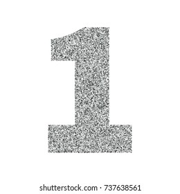 Silver glitter alphabet number 1. Ideal for wedding invitations, posters, greeting cards, banners, flyers, postcards, birthday party designs etc