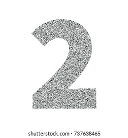 Silver glitter alphabet number 2. Ideal for wedding invitations, posters, greeting cards, banners, flyers, postcards, birthday party designs etc