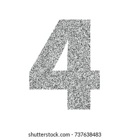 Silver glitter alphabet number 4. Ideal for wedding invitations, posters, greeting cards, banners, flyers, postcards, birthday party designs etc