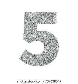 Silver glitter alphabet number 5. Ideal for wedding invitations, posters, greeting cards, banners, flyers, postcards, birthday party designs etc