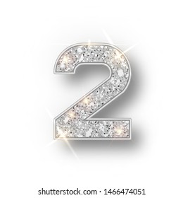 Silver glitter alphabet numbers 2 with shadow. Vector realistick shining silver font number two of sparkles on white background. For decoration of cute wedding, anniversary, party, label, headline