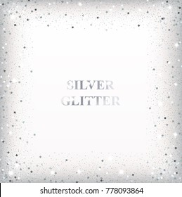 Silver glitter background with square confetti frame for holiday designs.
