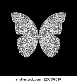 Silver Glitter Butterfly Design Stock Vector Royalty Free 1203399319