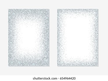 Silver glitter holiday card backgrounds with sparkle dots confetti.
