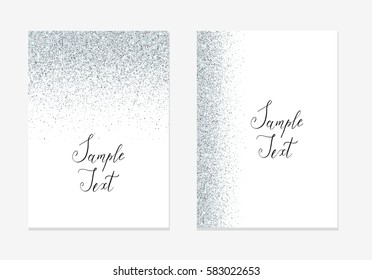 Silver glitter holiday design background with sparkle.