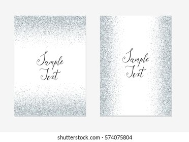 Silver glitter invitation design card with sparkle for holidays.