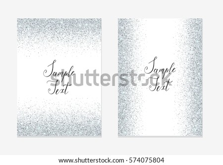 silver glitter invitation design card sparkle stock vector royalty