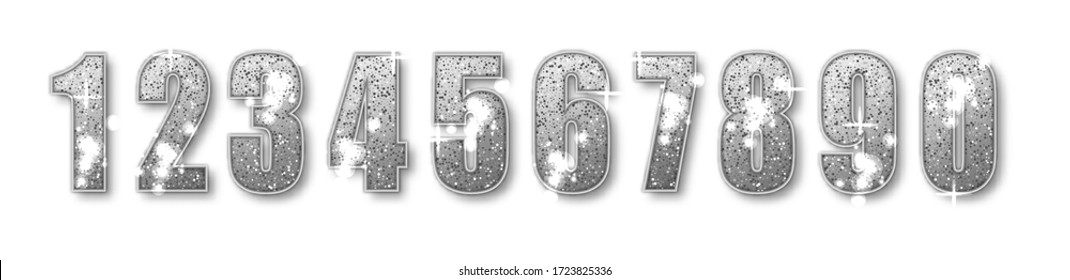 Silver Glitter Number numbers set. Luxury Silver Numbers from 0 to 9 with shimmering glitter isolated on white background. Silver dust, vector illustration.