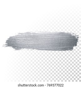 Silver glitter paint brush stroke or abstract dab smear with smudge texture on transparent background. Isolated glittering and sparkling silver paint ink paintbrush splash stain for luxury design