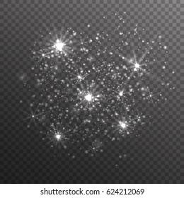 Silver glitter sparkles on transparent background. Vector dust texture. Twinkling confetti, shimmering star lights. Vector illustration.