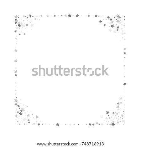 silver glittering stars border on white stock vector royalty free