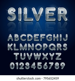 Silver glossy alphabet letters and numbers. Vector illustration