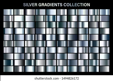 Silver glossy gradient, metal foil texture. Color swatch set. Collection of high quality vector gradients. Shiny metallic background. Design element.