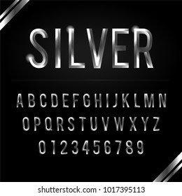Silver glossy vector set of letters, symbols and numbers.