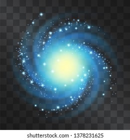 Silver glow neon blue galaxy vector light effect, blizzard with shining stardust halo. Decorative glittering cloud of sparkles, nebula top view. Hurricane top view, vortex on transparent background.