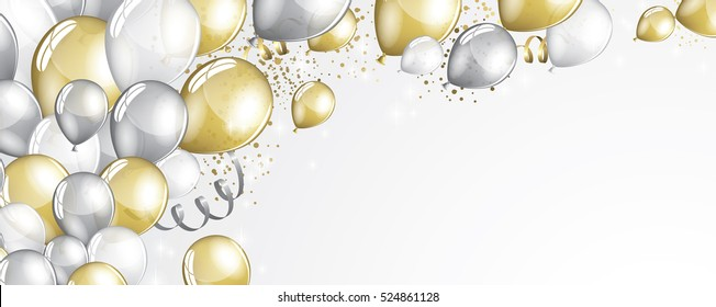 Silver and gold balloons and glitter festive banner