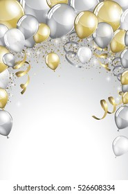 Silver and gold balloons and glitter festive card