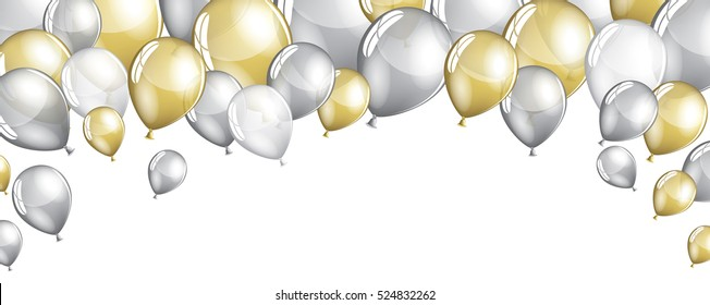 Silver and gold balloons isolated on white banner