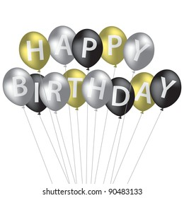 Silver, gold and black balloon bunch Happy Birthday card in vector format.