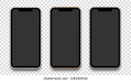 Silver, gold and black phone concept with blank screen isolated on transparent background. Vector quality illustration.