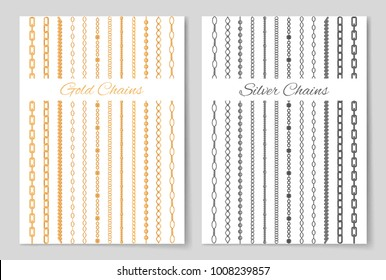 Silver and gold chains promotional posters set. Expensive luxurious jewelry made of precious metals cartoon vector illustrations on white background.
