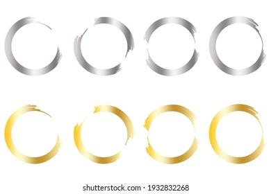 Silver gold circles set on white background. Glitter backdrop. Bright star. Wedding design. Vector set. Stock image. EPS 10.