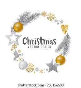 Silver and gold decorated Christmas Wreath. Vector illustration.