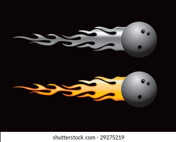silver and gold flaming bowling balls