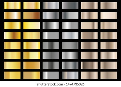 silver and gold foil texture gradation background set. Vector golden elegant, shiny and metalic gradient collection for chrome border, frame, ribbon, label design