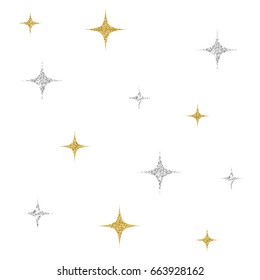 silver and gold glitter star pattern on white background