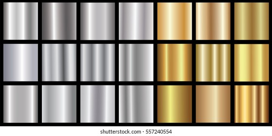 Silver gold gradient background vector icon texture metallic illustration for frame, ribbon, banner, coin and label. Realistic abstract golden design seamless pattern. Elegant light and shine template