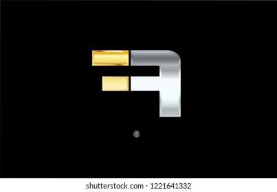 a silver gold letter alphabet logo with golden metallic color