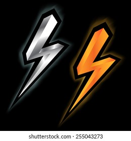silver and gold lightning icon