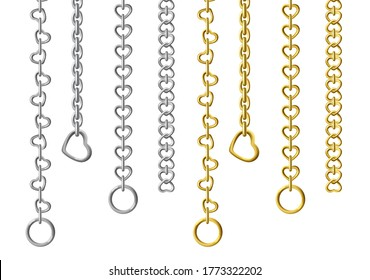 Silver and gold metal chains isolated on white background. Vector set of vertically hanging steel chains with different sizes and shapes of links. Realistic connected stainless rings, upright jewelry.