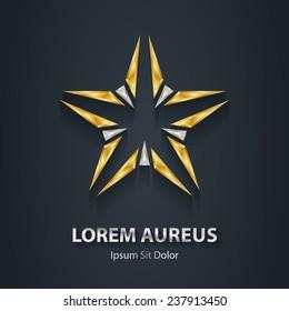 Silver and Gold star logo. Award 3d icon. Metallic logotype template. Volume Vector illustration.