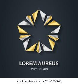Silver and Gold star logo. Award 3d icon. Metallic logotype template. Volume Vector design element.