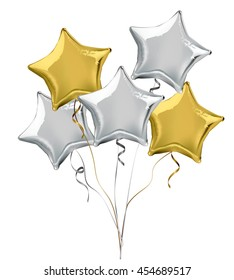 Silver and gold star shaped foil helium balloons. Detailed and realistic Vector illustration