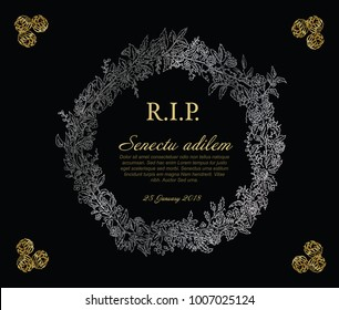 Condolence card images stock photos vectors shutterstock silver and golden flower frame illustration template made from various flowers funeral card template altavistaventures Images