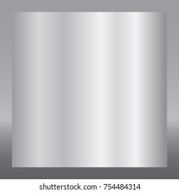 Silver gradient background. Silver design texture for ribbon, frame, banner. Abstract silver gradient template. Metal shine steel plate. Metallic light chrome pattern Vector illustration