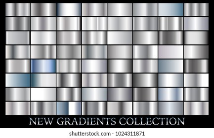 Silver gradient set background vector icon texture metallic illustration for frame, ribbon, banner, coin and label. Realistic abstract golden design seamless pattern. Elegant light and shine template