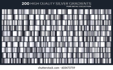 Silver gradient,pattern,template.Set of colors for design,collection of high quality gradients.Metallic texture,shiny background.Pure metal.Suitable for text ,mockup,banner, ribbon or ornament.